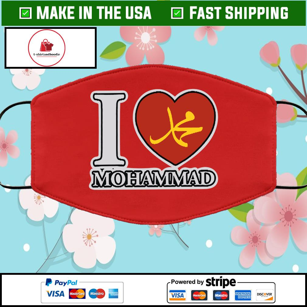 I Love Mohammad Cloth Face Mask Washable Red