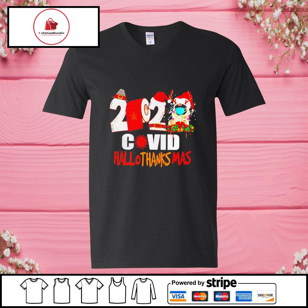 2020 Pug Covid Hallothanksmas s v-neck-t-shirt