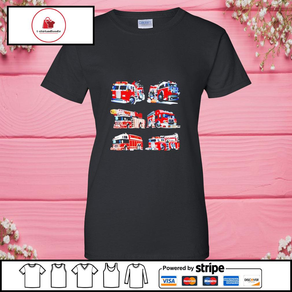 Types of fire truck boy toddler kids firefighter xmas s ladies-tee